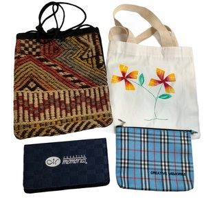 Bundle of 4 Misc Cosmetic Bags & Totes Check Cover